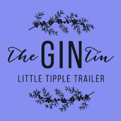 Logo for The Gin Tin Little Tipple Trailer, black on a purple background